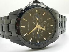 Bulova Classic 98C121 Black Ion Plated Stainless Steel Chronograph Watch in Box