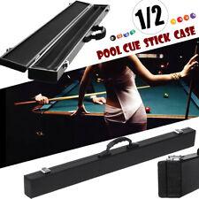 "1/2 Pool Cue Hard Case For Pool Snooker Billiard Box 85cm/33.5"" PU Leather Black"