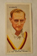 HEDLEY VERITY - 1935 Godfrey Phillips Card - In the Public Eye Series.