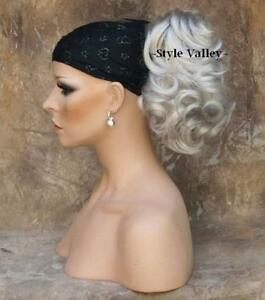 SILVER Grey WHITE Ponytail Hair piece short wavy clip on in Extension Hairpiece