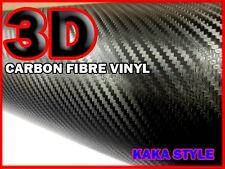 Fibra De Carbono Vinilo Wrap Auto Adhesivo [ 3d ] Negro 1000mm X 600 mm de tamaño