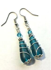 Sea Glass Earrings Teal Blue Silver Wire Wrapped Teardrop Earrings