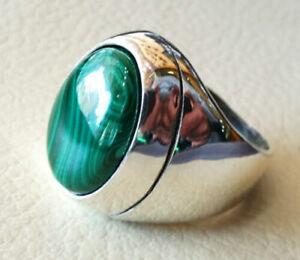 Malachite Gemstone Solid 925 Sterling Silver Man Gents Mens Ring Jewelry RZ