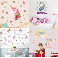 Unicorn Star Heart Wall Stickers Removable Girls Kids Nursery Room Decal Decor