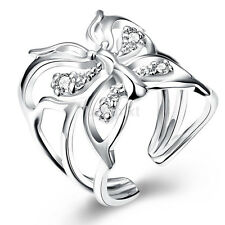 Women Girls Silver Plated Butterfly Shape Ring Wedding Engagement Ring Band Hot