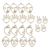 10Pairs Human Face Palm Hand Shape Drop Charm Earring Pendants Jewelry Finding