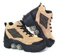 UNIQUE Quad KICK ROLLER Skates 4wheels retractable Beige Leather BN FREE SHIP