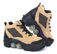 UNIQUE Quad KICK ROLLER Skates 4wheels retractable Beige Leather BN FREE SHIP