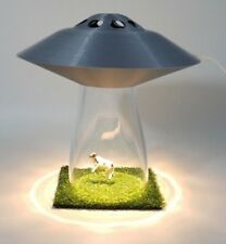 UFO LAMP Alien Cow Abduction Outer Silver Space Saucer Light Farm Country Scene