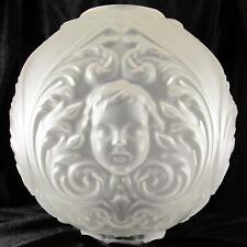 """OLD 10"""" CHERUBS / ANGEL BALL SHADE 4"""" fitter glass for oil,banquet, GWTW lamp"""