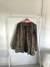 Next Faux Fur Leopard Print Animal Print Coat Size 12 Immaculate