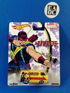 2014 HOT WHEELS PREMIUM MARVEL HAWKEYE '66 DODGE A100 DELIVERY YELLOW