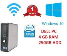 WINDOWS 10 FAST CHEAP  DELL OPTIPLEX COMPUTER DESKTOP TOWER PC INTEL 4GB RAM