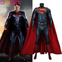 Superman Man of Steel Clark Kent Cosplay Costume Zentai Bodysuit Jumpsuit Cape