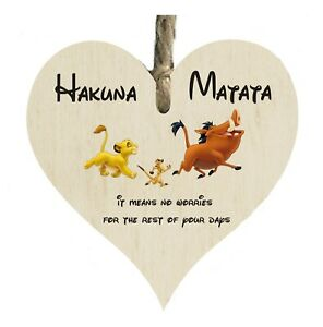 Lion King Walt Disney Hakuna Matata Wooden Heart Shape Plaque Gift Sign htc152