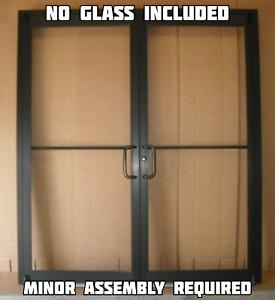 """COMMERCIAL ALUMINUM STOREFRONT DOUBLE DOOR, FRAME & 2 CLOSER 6'0"""" x 7'0"""", BRONZE"""