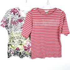 Christopher & Banks Womens Top Petite Large Lot of Two Floral Striped 100%Cotton