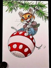 Vintage Mouse Mice Swing Ornament - Wallace Tripp Christmas Greeting Card Unused