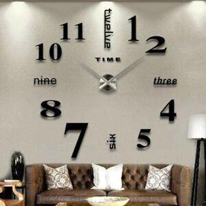 Modern DIY 3D Large Number Wall Clock Mirror Sticker Decor Home Office Kids UK