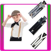 Boys 20s Gangster Gatsby Suspenders Braces 1920s Child Kids Black White Grey
