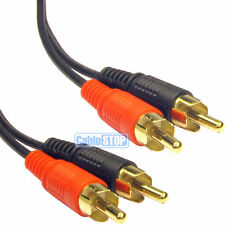 20m Twin RCA PHONO Audio Cable Gold Lead Male 2 x RCA Plug to Plug 20 METRE