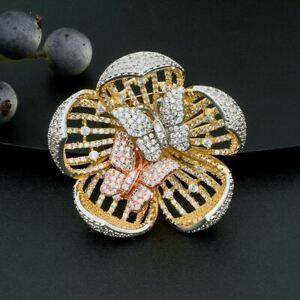 Three-Tone Cubic Zirconia Pave Two Butterflies in Blooming Flower Fashion Ring 8