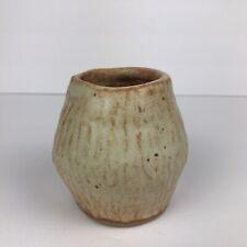 Vintage Handmade Vase Ceramic Pottery Primitive Signed 4 Inches