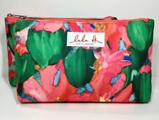 2pc Clinique LuLu DK Cosmetic Makeup Bag (Green, Pink Lined, Lightly Padded)