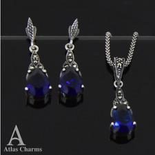 925 Sterling Silver Earrings Sapphire Pendant Necklace jewellery Sets Wedding