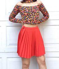NWT American Apparel Crepe Sunburst Pleated Skirt New Coral Pink Medium
