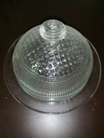 """Jeanette Glass Clear """"Waffle"""" Pattern RARE Covered Butter/cheese Dish 1939-1949"""