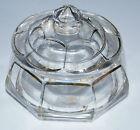 Ancienne boite à coton ou bonbonnière cristal TAILLE DE BACCARAT COTES PLATES