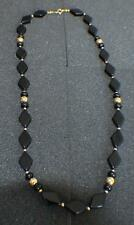 """VNT Signed TRIFARI BLACK BEADS&GOLDTONE METAL BEADS NECKLACE SZ-APPROX.23""""#13"""