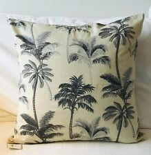 NWT Pottery Barn Grey Palm Embroidered Pillow Cover 22 x 22 ~ Tropical Beach