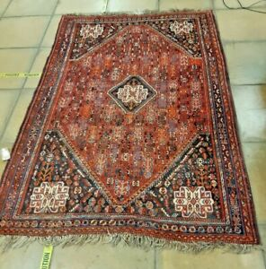 Lovely Hand Made Vintage Afghan Carpet Red Ground with Geometric Pattern