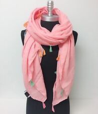 Solid light square scarf with tassels Shawl Wrap Beach Bikini Cover up, Blush