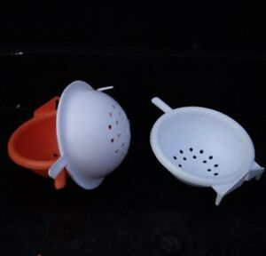SUPERIOR QUALITY:  4 X PLASTIC NEST PANS WITH PERCH FOR CANARIES/FINCHES- WHITE