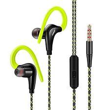 Sports in Ear Over Hook Headphones Earphones With Mic for Smart PHONES 3.5mm Green