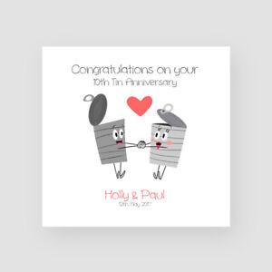 Personalised Handmade 10th Tin Wedding Anniversary Card - Tenth, Cartoon, Funny