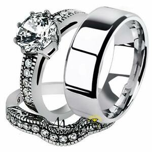 His & Her Stainless Steel Vintage Engagement Bridal Ring Set & Men'sWedding Band