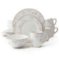 Hampton 16-Piece Stoneware Dinnerware Set - Serves 4, Seaside and Seashells