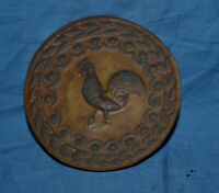 "Vintage 3 ¼"" Diameter Carved Chicken Wall Plaque Country Kitchen"