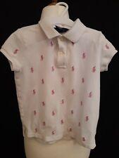 Retro Ralph Lauren Kids Polo Shirt - Age 6 - White & Pink - Pique Cotton