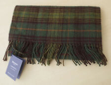 Johnstons Lambswool Men's Scarf Green Tartan Plaid Scotland