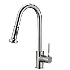 Brushed Nickel Single Hole Kitchen Faucet with Pull Down Sprayer-High Quality