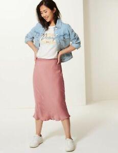 M&S Blush Pink Silky Slip Skirt 12/14/16/20 Reg