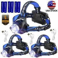 Zoomable Tactical 990000LM  LED Rechargeable USB Headlamp Headlight Torch Lamp