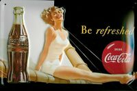 Coca Cola Sailing Chica Letrero de Metal 3D en Relieve Arqueado Cartel Lata