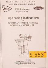 Szim Strigon Mp200m Mp200 M 02 Pantograph Milling Manual Year 1978