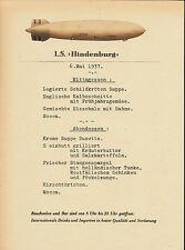 Hindenburg Rigid Airship Menu In German Reprint On Original Period 1937 Paper